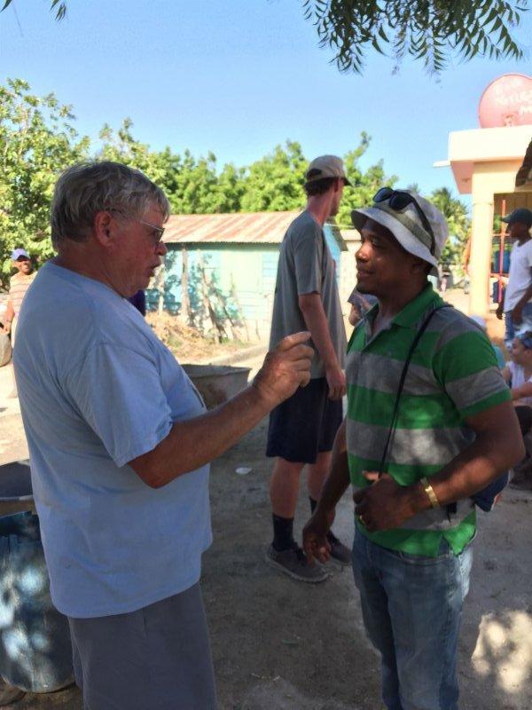 Steve and Wilton (a translator) in deep conversation