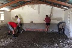 Preparing the church floor